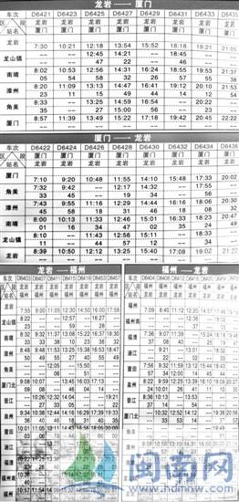 下月起龙厦间执行新列车时刻表 新增两列晚班车